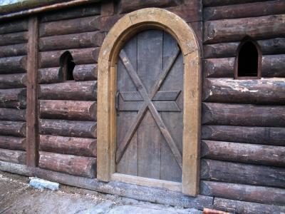 房子, 门, 日志, 老, 开口, 棕色
