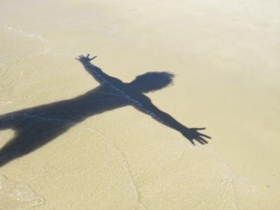 阴影, 海滩, 思想, 沙子, 由日落, 海洋, 自然