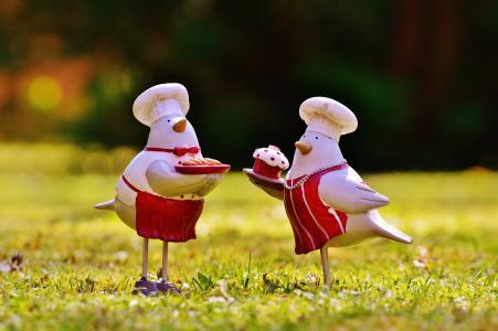 烹饪, 厨师, 烘烤, 鸟类, 草甸, 太阳, 复活节