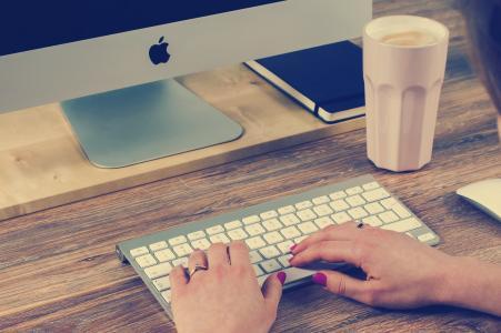 苹果, 咖啡, 桌面, 键盘, 女人, 工作场所, 计算机