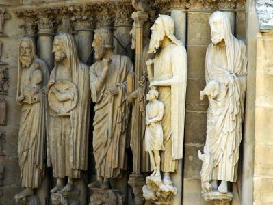 兰斯, 大教堂, 雕像, 雕塑, 圣, 宗教, 信心