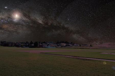 宇宙, 草, 房屋, 银河, 晚上, 天空, 星星