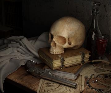 头骨, 黑暗, 地图, 书, 枪, 静物, 人类的骨骼