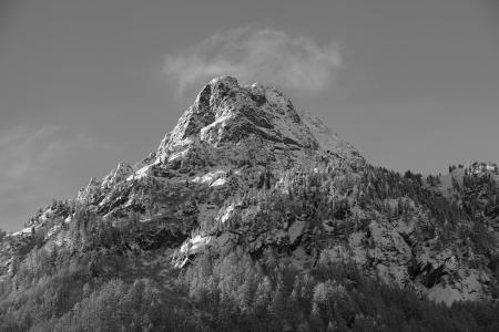 山, b w, 景观, 地块, 夏蒙尼, 天空, 岩石