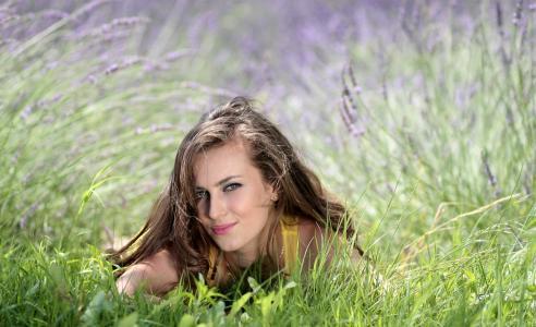 女孩, 熏衣草, 花, mov, 美, 自然, 草
