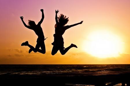 青年, 活动, 跳转, 快乐, 日出, 剪影, 两个