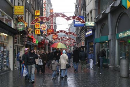 阿姆斯特丹, 荷兰, 雨, 市中心, 遮阳伞, 广告