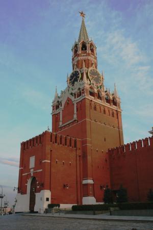 塔, 克里姆林宫, 墙上, 红色, 砖, 高, 时钟