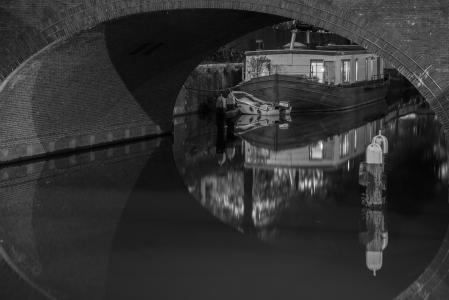 桥梁, 灯, 晚上, 荷兰, 水, 运河, 旅行