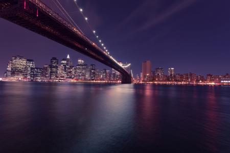 纽约城, 布鲁克林大桥, 晚上, 天际线, 纽约, 美国, 美国