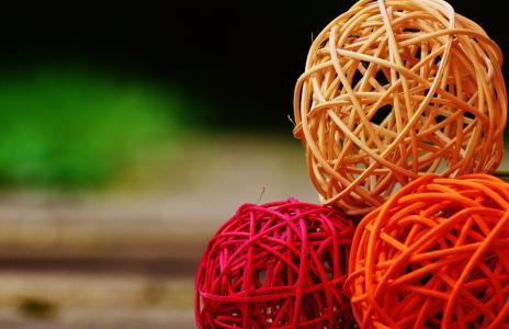球, 木材, 编织, 装饰, 多彩
