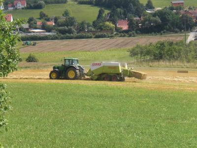 拖拉机, 包机, 稻草, 农业