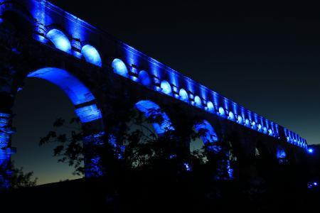 杜邦加尔, 法国, 桥梁, aqaedukt, 晚上, 建筑, 照明