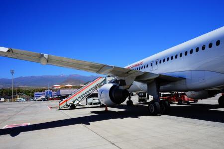 机场, 特内里费岛, 跑道, 飞机, 到达, 土地, 着陆