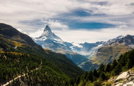 马特宏峰, 采尔马特, 瑞士, 山脉, 雪, 天空, 云彩