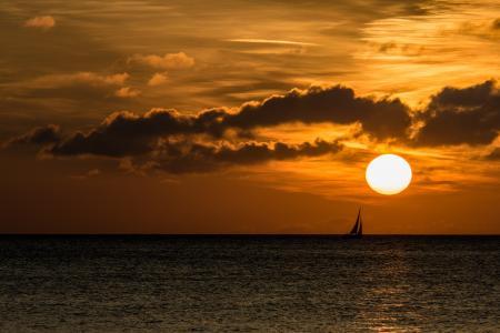 日落, 云彩, 海, 晚上, 启动, 波罗地海, abendstimmung