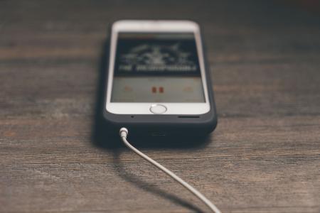 电话, 手机, 苹果, iphone, 白色, 耳机, 技术