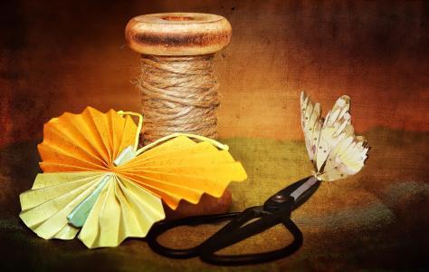 线圈, 纱线, 剪刀, 纸蝴蝶, 蝴蝶, 德科, 装饰