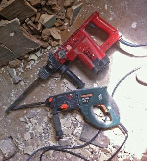 锤钻, 凿子, 碎片, 网站, 建筑废墟, 拆除, 废墟