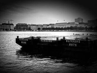汉堡, 阿尔斯特, 黑色和白色, 水, innenalster, 城市, 家园
