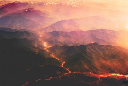 火山, 岩浆, 熔岩, 山脉, 小山, 热, 日落