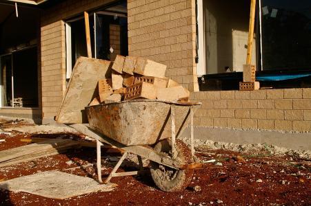 鲍磊, 砖, 手推车, 墙上, 房屋建筑, 建设, 独轮手推车