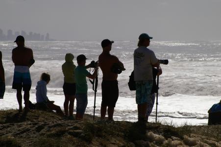 人, 摄影师, 剪影, 海岸, 海, 海洋, 照相机