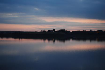反思, 黄昏, 湖, 水, 日落, 天空, 景观