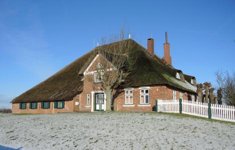 haubarg, 冬天, 茅草的屋顶, eiderstedt
