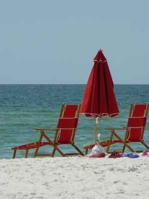 那不勒斯, 佛罗里达州, 海滩, 海, 沙子, 雨伞, 红色