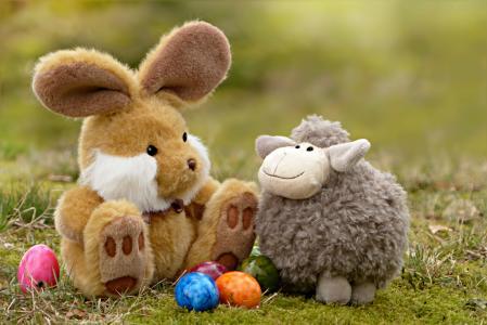 复活节, 复活节兔子, 复活节彩蛋, 羔羊, 静物, 草, 玩具熊