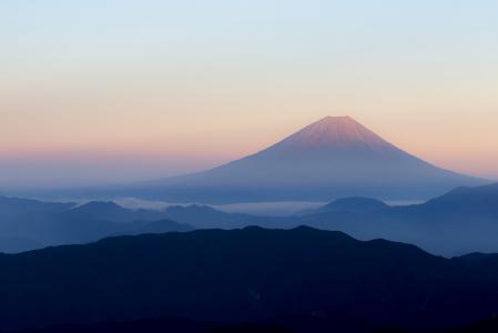 富士山, 日本, 查看从 kitadake 富士, 红富士, 桃花红富士, 清晨, 日出