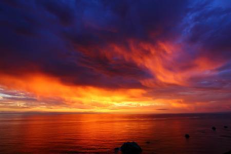 日落, 太平洋, 晚上, 云计算, 模式, 大气, 地平线