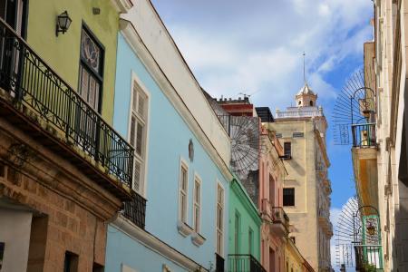 哈瓦那, 彩色房屋, 蓝蓝的天空, 外墙