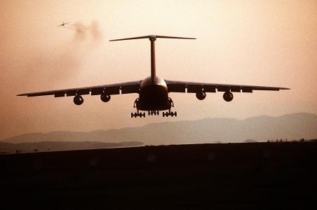 飞机, 剪影, 飞机, 着陆, 货物, 运输, 军事