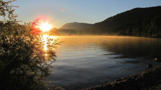 日出, 自然, 心情, morgenstimmung, 山脉, 湖, 水
