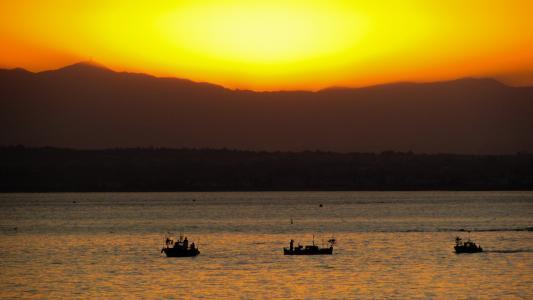 日落, 海, 小船, 风光, 晚上, 橙色, 宁静