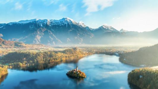 布莱德, 斯洛文尼亚, 湖, 山脉, 山, 雾, 太阳