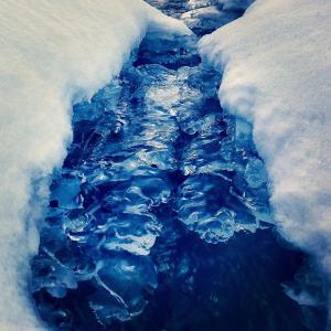 景观, 溪运行, 冻结, 冬天, 冰, 寒冷, 雪