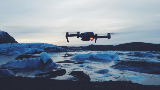 无人驾驶飞机, 相机, 冰, 冰山, 雪, 感冒, 天气