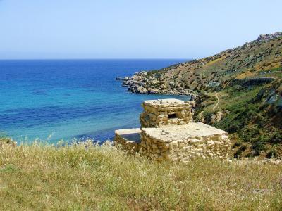 海岸, 视图, 坚固耐用, 岩石, 海, 门, 石头墙