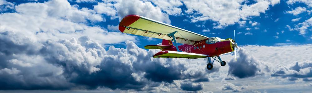 飞机, 螺旋桨, 翼, 飞, 双层, 航空, 螺旋桨飞机