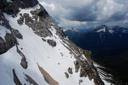 祖格峰, 德国, 山, 雪, 云彩, 巴伐利亚, 阿尔卑斯山