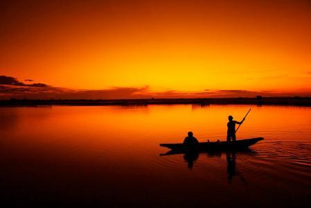 捕鱼, 小船, 渔夫, 潭江泻湖, 色相, 日落, 越南