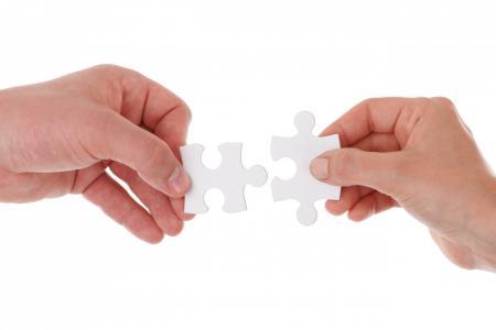 连接, 连接, 合作, 手, 举行, 分离, 拼图