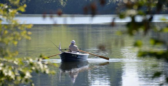 划艇, 乘船旅行, 垂钓者, 山全景, 山脉, bergsee, 阿尔高