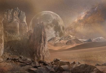 梦幻景观, 干, 火星, 沙漠, 银河, 行星, 岩石