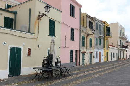 意大利, 撒丁岛, 阿尔盖罗, 海滨, 房屋, 道路, 颜色