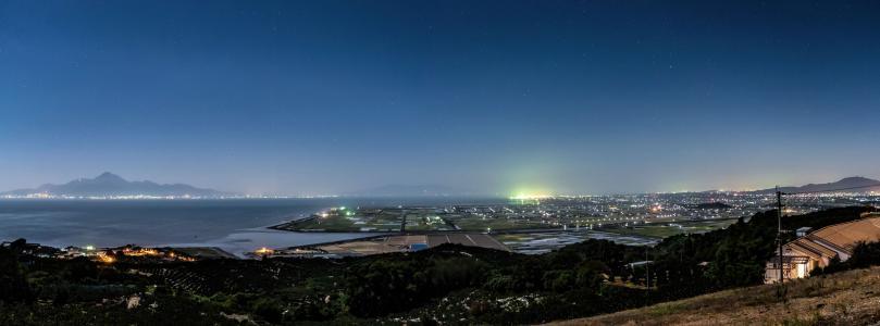 日本, 熊本, 河内, 夜景, 海, 星级, 天空