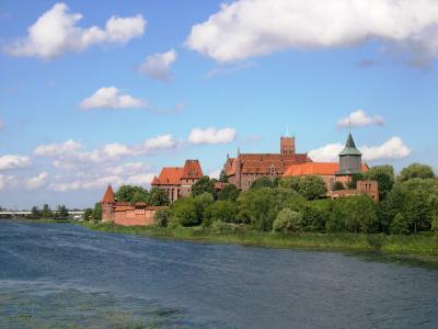 波兰, 城堡, malbork, 河, 维斯瓦, weichsel